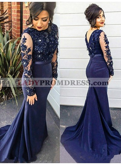Dark Navy Mermaid Long Sleeves Satin Appliques Long Prom Dresses 2020