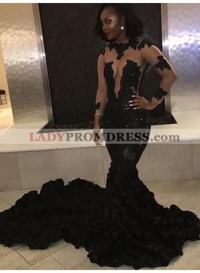 Sexy Black Mermaid See Through Long Train Long Sleeves Ruffles Prom Dresses 2021