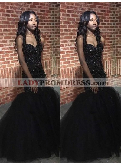 2021 Sexy Black Sweetheart Tulle Beaded African American Long Prom Dresses