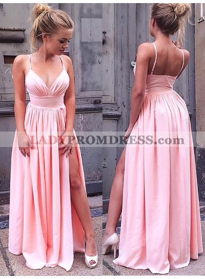 Cheap A Line Sweetheart Spaghetti Straps Pink Side Slit Satin Prom Dresses 2021