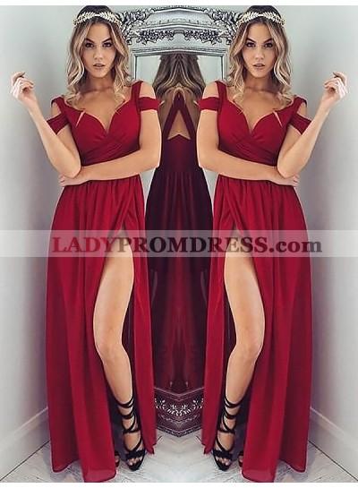 2019 Cheap A Line Sweetheart Off Shoulder Burgundy Side Slit Prom Dresses