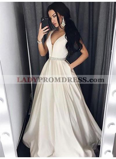 2020 Elegant A Line Satin White V Neck Beaded Sash Prom Dresses