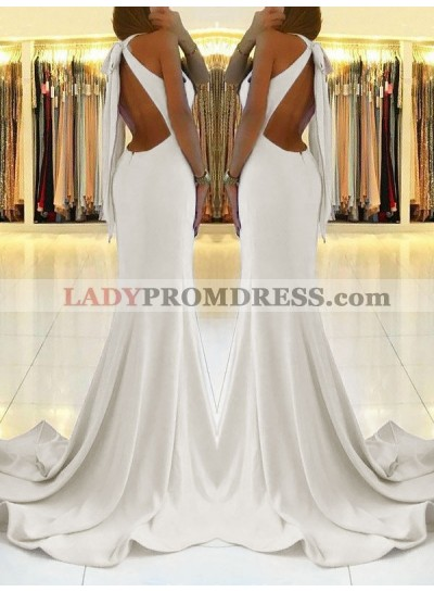 2020 Charming White Sheath Side Slit Lace Up Back Backless Halter Prom Dresses