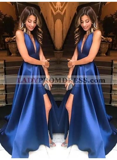 2021 New Arrival Satin A Line Royal Blue Side Slit V Neck Backless Long Prom Dresses