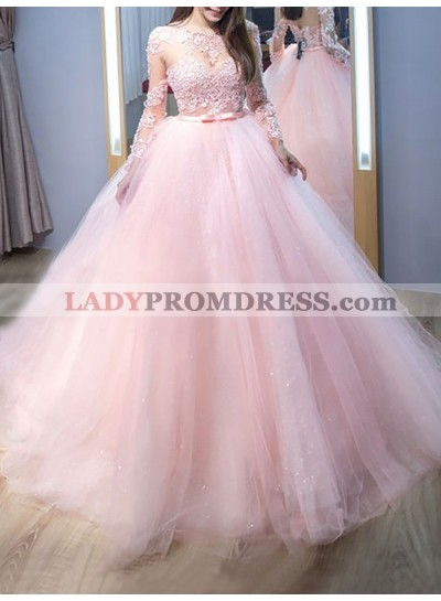 2021 Amazing Long Sleeves Tulle Pink See Through Ball Gown Prom Dresses With Appliques