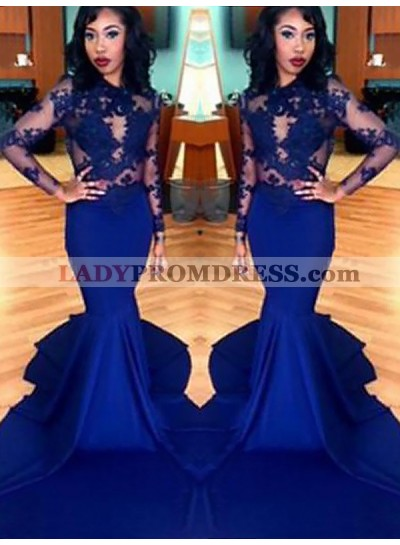 2021 Royal Blue Mermaid Long Sleeve Satin See Through Prom Dresses With Appliques