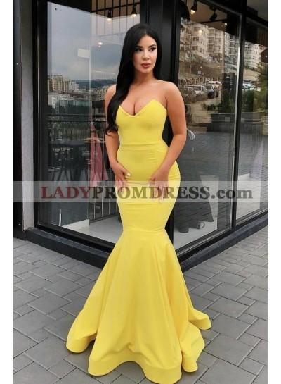 2021 Sexy Satin Mermaid Yellow Sweetheart Satin Prom Dresses