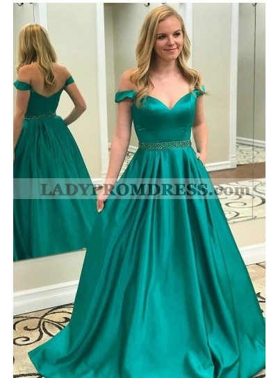 2020 Elegant A Line Satin Jade Off Shoulder Sweetheart Long Prom Dresses