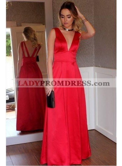 2020 Cheap A Line Red Deep V Neck Satin Floor Length Backless Prom Dresses