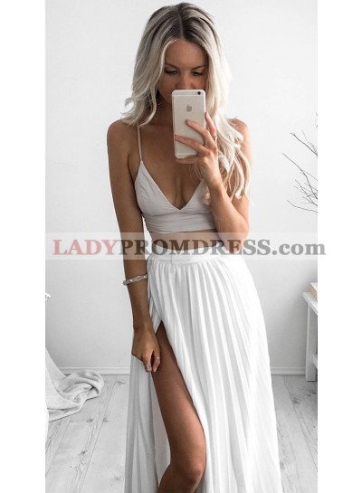 2021 Cheap A Line Chiffon White Two Pieces Sweetheart Spaghetti Straps Side Slit Prom Dresses