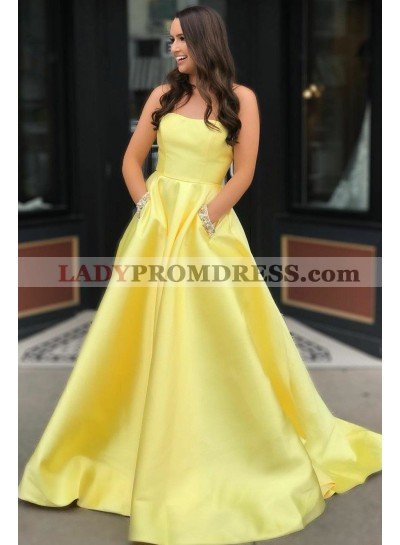 Elegant A Line Strapless Satin Daffodil Long Prom Dresses With Pockets 2021