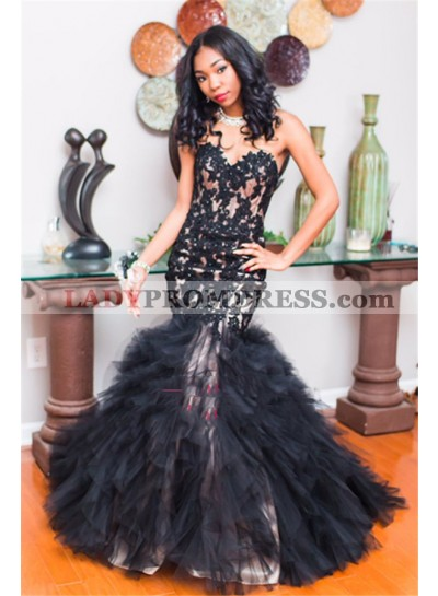 2020 Sexy Black Mermaid Sweetheart Ruffles Prom Dresses With Appliques