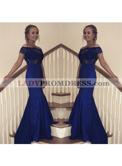 2021 New Arrival Sheath Off Shoulder Royal Blue Short Sleeves Long Prom Dresses
