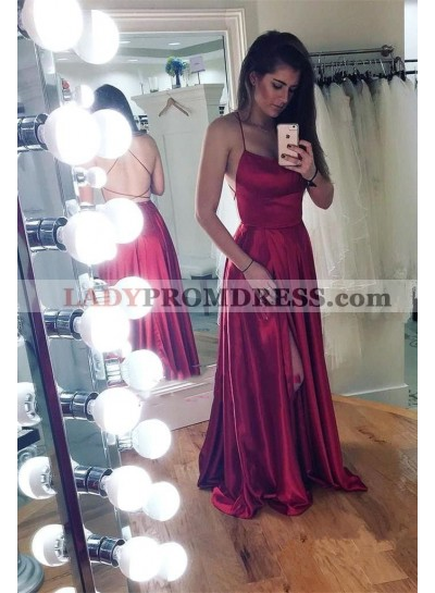 2019 Cheap A Line Backless Lace Up Back Burgundy Elastic Satin Side Slit Prom Dresses