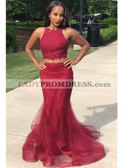 2021 New Designer Burgundy Two Pieces Tulle Mermaid Prom Dresses