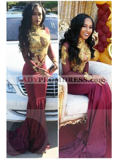 2020 Charming Mermaid Burgundy And Gold Appliques Long Sleeves High Neck Key Hole Long African American Prom Dresses