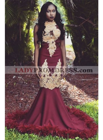 Charming Mermaid African American Burgundy and Gold Appliques High Neck Prom Dresses 2021
