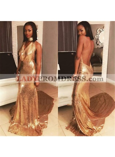 2020 Amazing Sheath Gold Backless Halter Sequence Long Prom Dresses