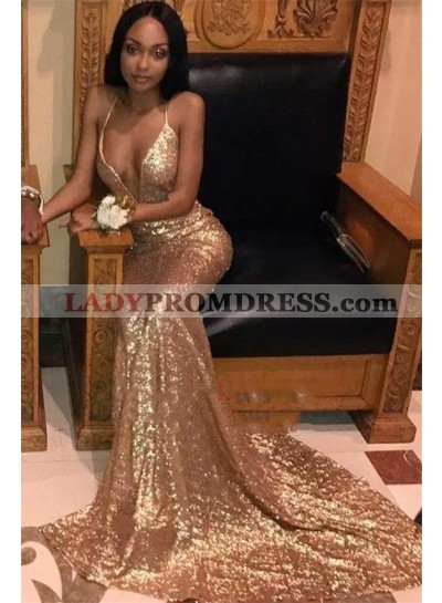 2021 Charming Gold Sheath Sequence Sweetheart Halter Long African American Prom Dresses