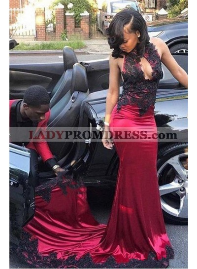 Sexy Burgundy and Black Appliques Elastic Satin Sheath Key Hole High Neck African American Prom Dresses 2020
