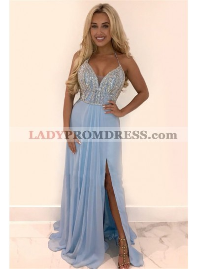 2020 Charming A Line Blue Chiffon Side Slit Sweetheart Halter Beaded Long Prom Dresses