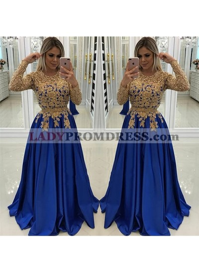 New Arrival A Line Satin Royal Blue and Gold Appliques Long Sleeves Prom Dresses 2021