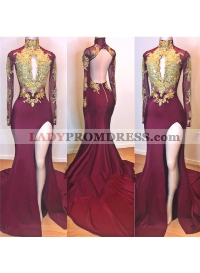 2021 Amazing Burgundy and Gold Appliques Long Sleeves High Neck Side Slit African American Prom Dresses