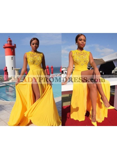 Cheap A Line Chiffon Side Slit Yellow Beaded Long African American Prom Dresses 2021