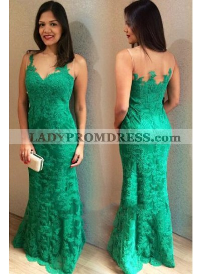2021 Emerald Lace Sheath Sweetheart Floor Length Prom Dresses