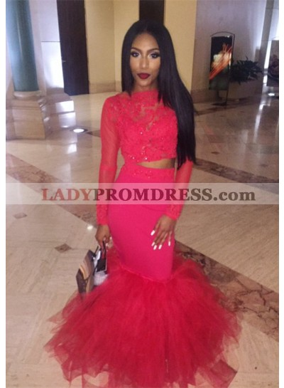 2021 Charming Red Mermaid Long Sleeves Two Pieces African American Prom Dresses