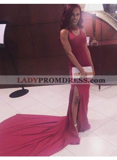 2021 Cheap Sheath Burgundy Side Slit Long Sleeveless African American Prom Dresses