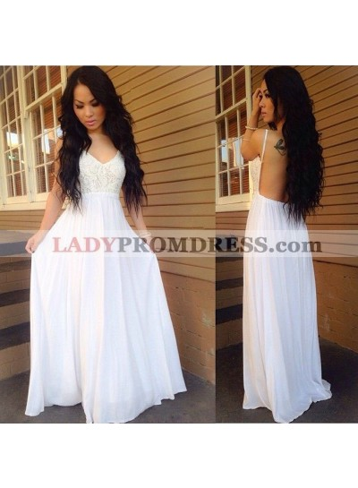 2019 Cheap A Line White Chiffon Backless Sweetheart Lace Prom Dresses