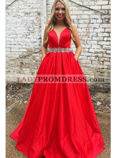Elegant A Line Satin Red Sweetheart Beaded Sash Prom Dresses With Pockets 2021