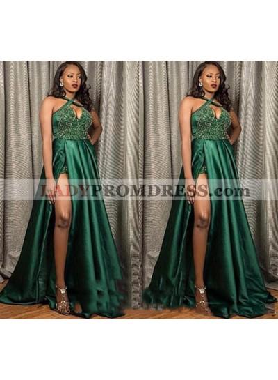 2021 New Arrival A Line Elastic Satin Hunter Halter Side Slit Prom Dresses