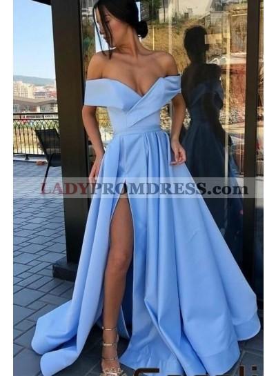2021 Amazing A Line Side Slit Satin Off Shoulder Blue Long Prom Dresses