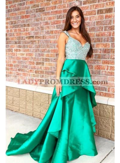 2021 A Line Green Sweetheart Beaded Ruffles Elastic Satin Long Prom Dresses