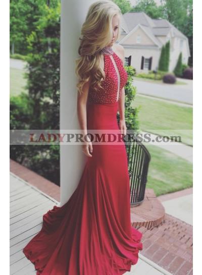 2020 Sexy Red Sheath High Neck Key Hole Beaded Backless Long Prom Dresses