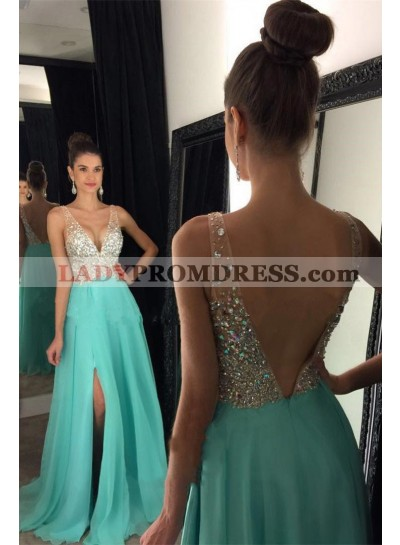 Cheap A Line Chiffon Turquoise Side Slit V Neck Beaded Backless Prom Dresses 2021