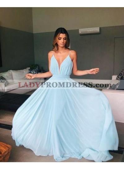 2020 Cheap Chiffon A Line Light Sky Blue Backless Prom Dresses