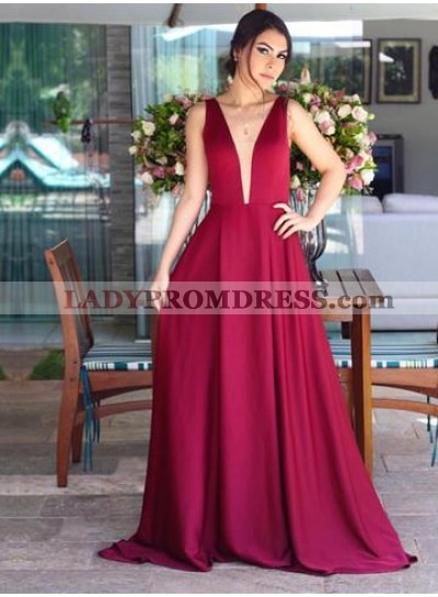 Cheap A Line Satin Burgundy V Neck Backless Long 2020 Prom Dresses
