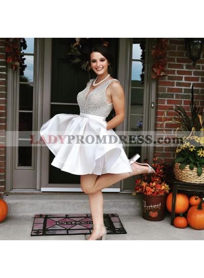 2021 Cute A Line White Beaded Knee Length V Neck Backless Short Prom Dresses