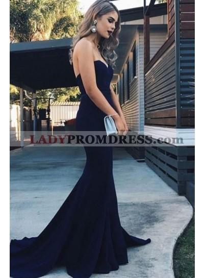 2021 Amazing Mermaid Satin Sweetheart Dark Navy Long Prom Dresses
