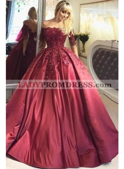 2021 New Designer Burgundy Long Sleeves Off Shoulder Lace Up Back Ball Gown Prom Dresses