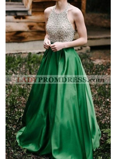 Elegant A Line Emerald Satin Backless Halter Beaded Long Prom Dresses 2021