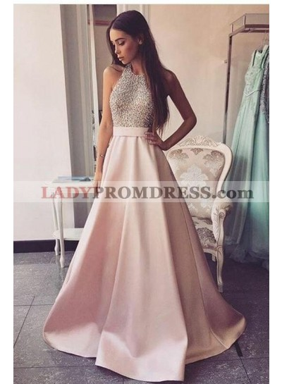2020 Elegant A Line Satin Pink Backless Halter Beaded Long Prom Dresses