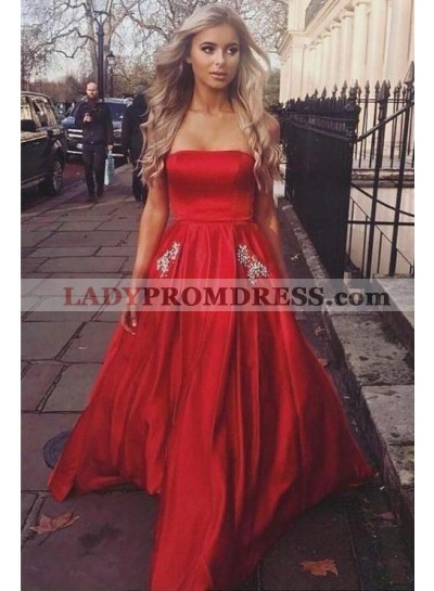 2020 Cheap A Line Strapless Elastic Satin Beaded Prom Dresses With Pockets
