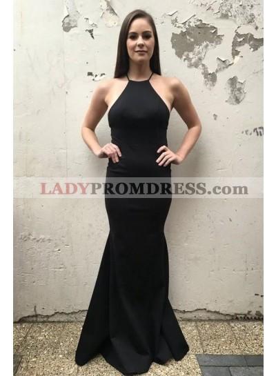 2021 Charming Sheath Halter Backless Black Plain Prom Dresses
