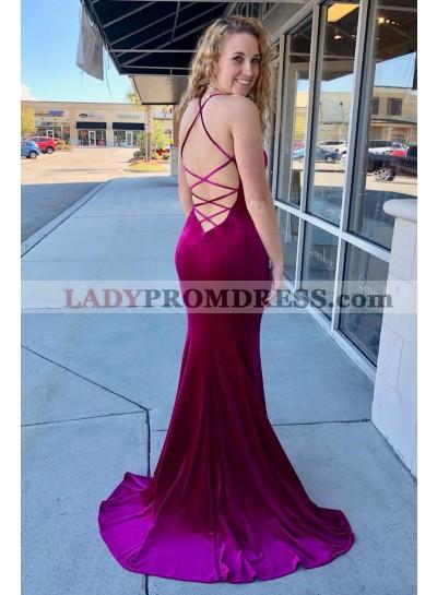 Amazing Fuchsia Sheath Velvet Sweetheart Halter Criss Cross Backless Long Prom Dresses