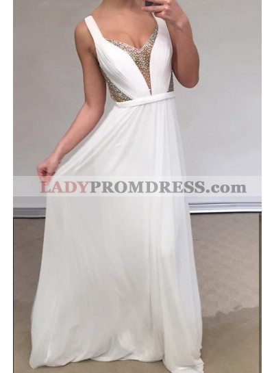 Cheap A Line Chiffon Backless White Sweetheart Bead Prom Dresses 2020