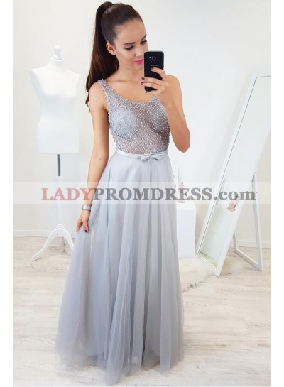 2021 New Arrival A Line Tulle See Through Silver Scoop Prom Dresses With Pearls and Bowknot